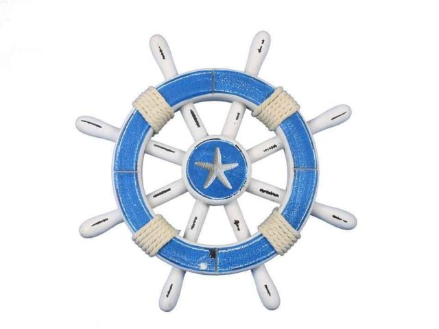 Rustic Light Blue And White Decorative Ship Wheel With Starfish 12