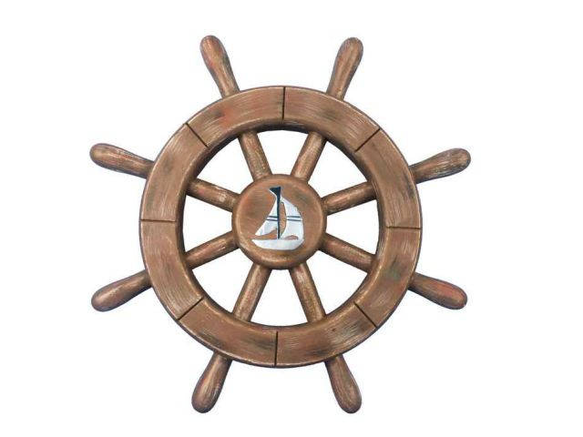 Rustic Wood Finish Decorative Ship Wheel With Sailboat 12