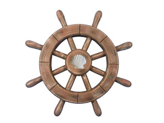Rustic Wood Finish Decorative Ship Wheel With Seashell 12