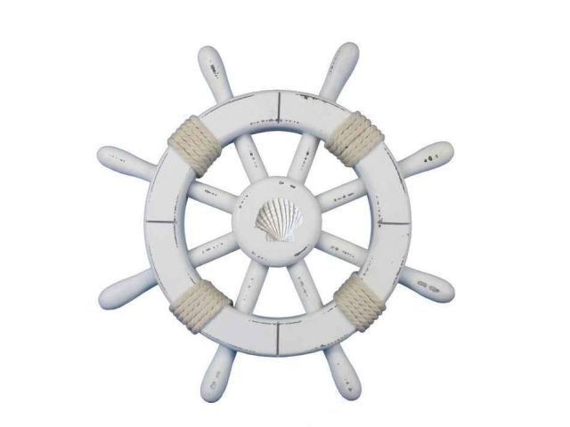 Rustic White Decorative Ship Wheel With Seashell 12