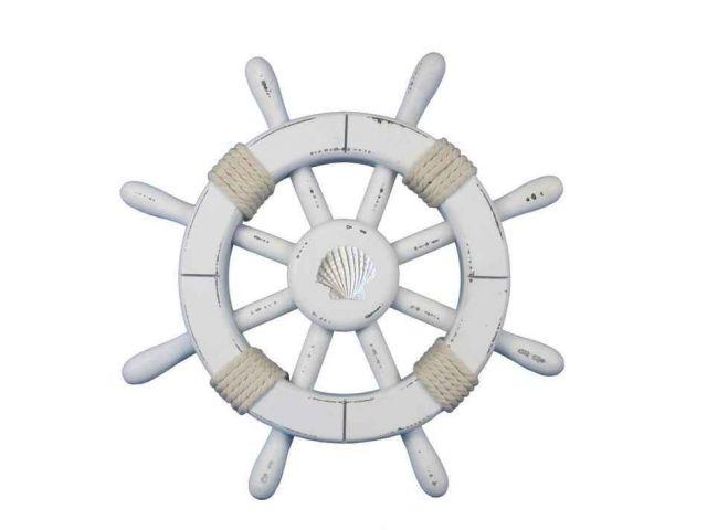 Rustic White Decorative Ship Wheel With Seashell 12