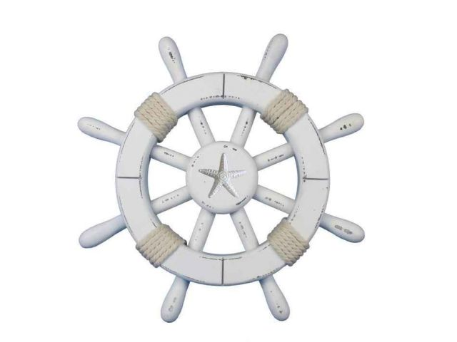 Rustic White Decorative Ship Wheel With Starfish 12