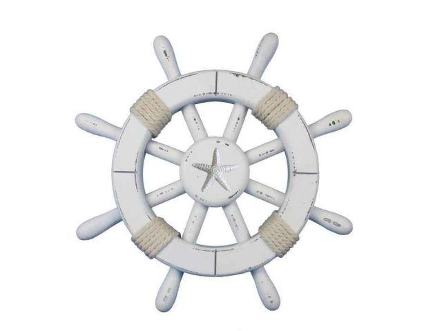 Rustic White Decorative Ship Wheel With Starfish 12