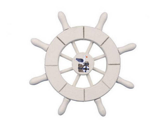 White Decorative Ship Wheel With Seagull 6