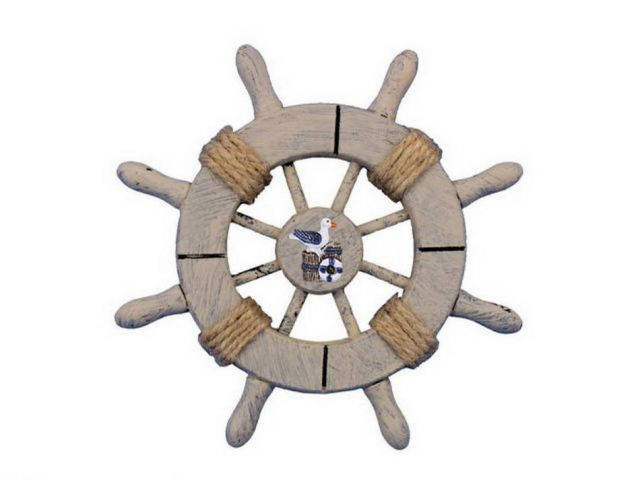 Rustic Decorative Ship Wheel With Seagull 6