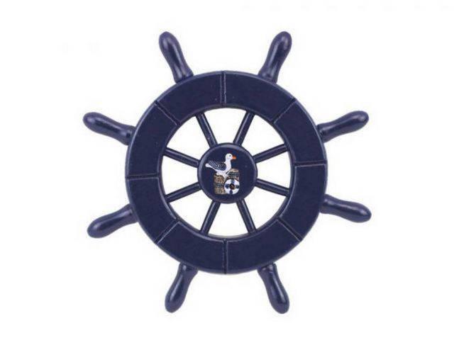 Dark Blue Decorative Ship Wheel With Seagull 6