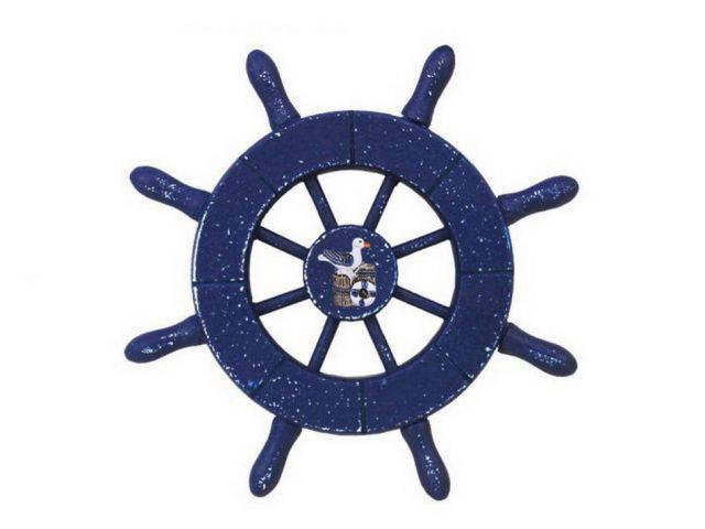 Rustic Dark Blue Decorative Ship Wheel With Seagull 6