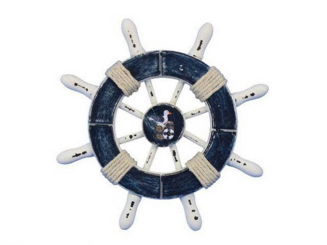 Rustic Dark Blue and White Decorative Ship Wheel With Seagull 6