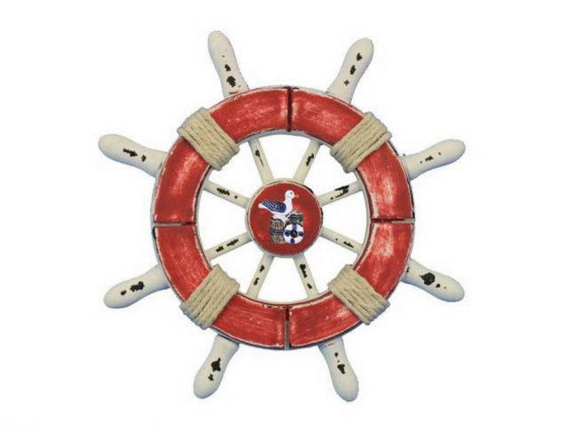 Rustic Red and White Decorative Ship Wheel With Seagull 6