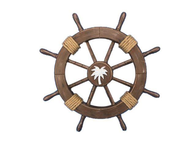 Rustic Wood Finish Decorative Ship Wheel with Palm Tree 18