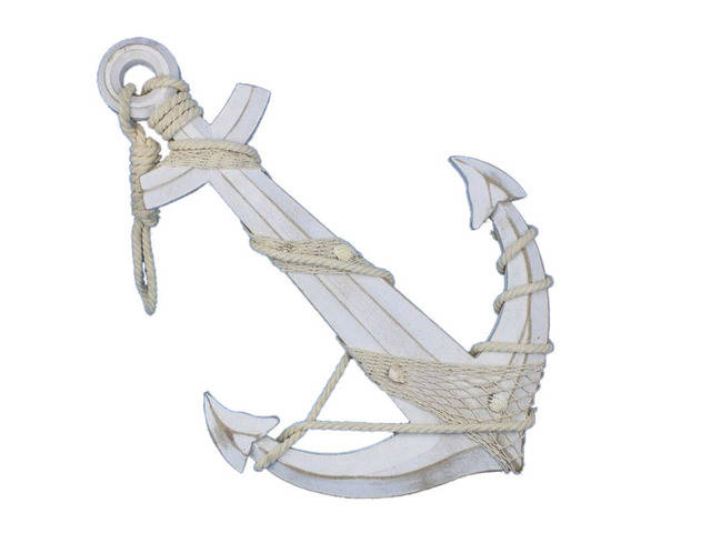 Wooden Rustic Whitewashed Decorative Anchor w- Hook Rope and Shells 24