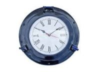 Brass Deluxe Class Porthole Clock 12 - Dark Blue