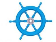 Deluxe Class Light Blue Wood and Chrome Decorative Ship Steering Wheel 18\