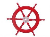 Deluxe Class Dark Red Wood and Chrome Decorative Ship Steering Wheel 24