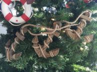 Wooden Rustic Decorative Triple Anchor Christmas Ornament Set 7