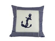 Blue Anchor Nautical Stripes Decorative Throw Pillow 16\