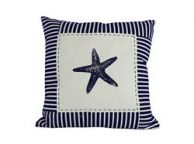 Blue Starfish Nautical Stripes Decorative Throw Pillow 16\