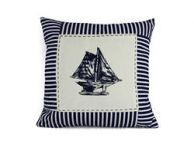 Blue Sloop Nautical Stripes Decorative Throw Pillow 16