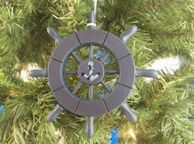Dark Blue Decorative Ship Wheel With Anchor Christmas Tree Ornament 6