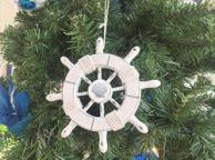Rustic White Decorative Ship Wheel With Seashell Christmas Tree Ornament  6