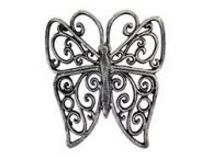 Rustic Silver Cast Iron Butterfly Trivet 8\