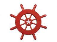Red Decorative Ship Wheel With Starfish 6