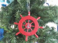Red Decorative Ship Wheel with Anchor Christmas Tree Ornament 6