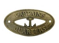 Antique Gold Cast Iron Captains Quarters Sign 8