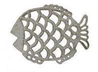Aged White Cast Iron Big Fish Trivet 8