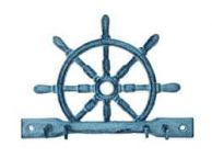 Rustic Dark Blue Whitewashed Cast Iron Ship Wheel with Hooks 8