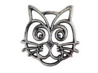 Rustic Silver Cast Iron Cat Trivet 7