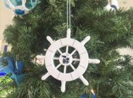 White Decorative Ship Wheel With Seagull Christmas Tree Ornament 6