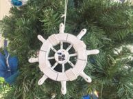 Rustic White Decorative Ship Wheel With Seagull Christmas Tree Ornament 6