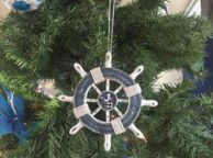 Rustic Dark Blue and White Decorative Ship Wheel With Seagull Christmas Tree Ornament 6