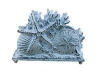 Rustic Dark Blue Whitewashed Cast Iron Seashell Napkin Holder 7