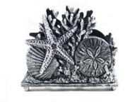 Antique Silver Cast Iron Seashell Napkin Holder 7\