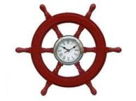 Deluxe Class Red Wood and Chrome Pirate Ship Wheel Clock 18\