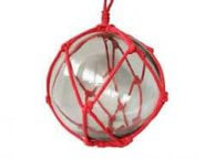 Clear Japanese Glass Ball Fishing Float with Red Netting Decoration 12\