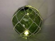 Tabletop LED Lighted Green Japanese Glass Ball Fishing Float with White Netting Decoration 10\