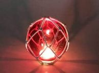 Tabletop LED Lighted Red Japanese Glass Ball Fishing Float with White Netting Decoration 4\