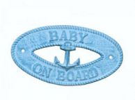 Light Blue Whitewashed Cast Iron Baby on Board with Anchor Sign 8