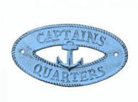 Rustic Light Blue Cast Iron Captains Quarters with Anchor Sign 8