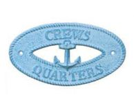 Light Blue Whitewashed Cast Iron Crews Quarters with Anchor Sign 8