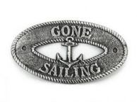 Antique Silver Cast Iron Gone Sailing with Anchor Sign 8
