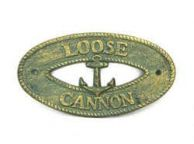 Antique Bronze Cast Iron Loose Cannon with Anchor Sign 8