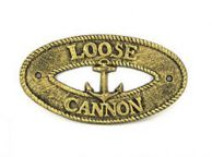 Antique Gold Cast Iron Loose Cannon with Anchor Sign 8\