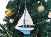 Wooden Light Blue Sailboat Model Christmas Tree Ornament 9