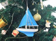 Wooden Light Blue Sailboat with Light Blue Sails Christmas Tree Ornament 9