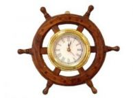 Deluxe Class Wood And Brass Ship Wheel Clock 12