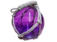 Purple Japanese Glass Ball Fishing Float With Brown Netting Decoration 12